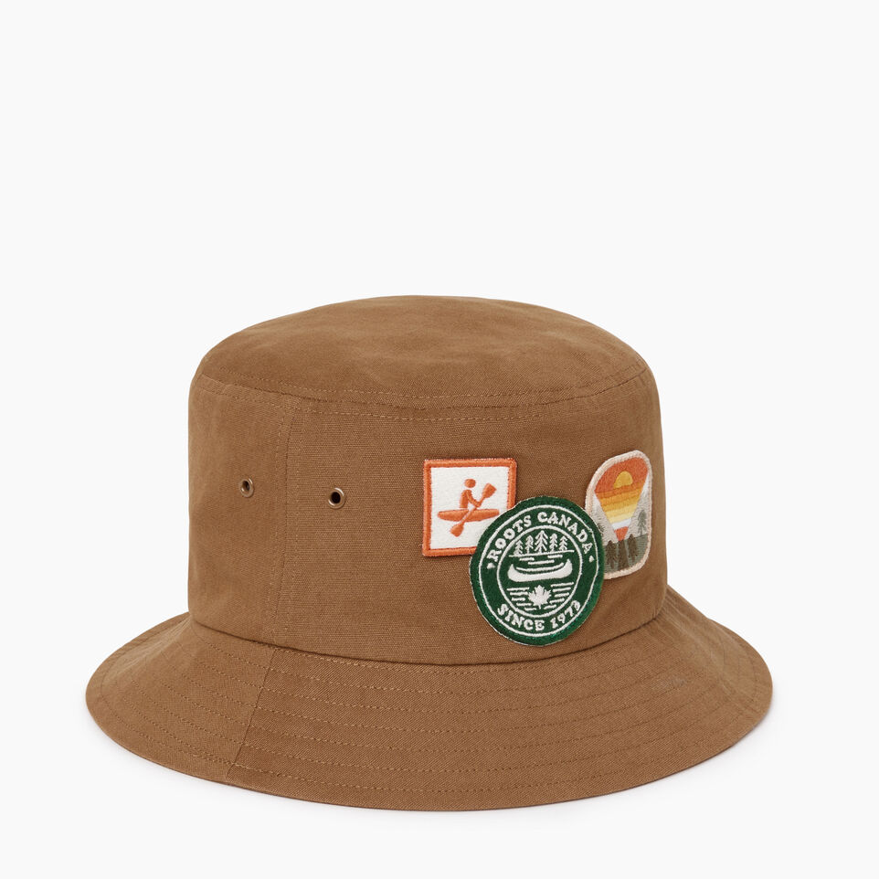 Roots-Men Our Favourite New Arrivals-Badges Bucket Hat-Tan-A