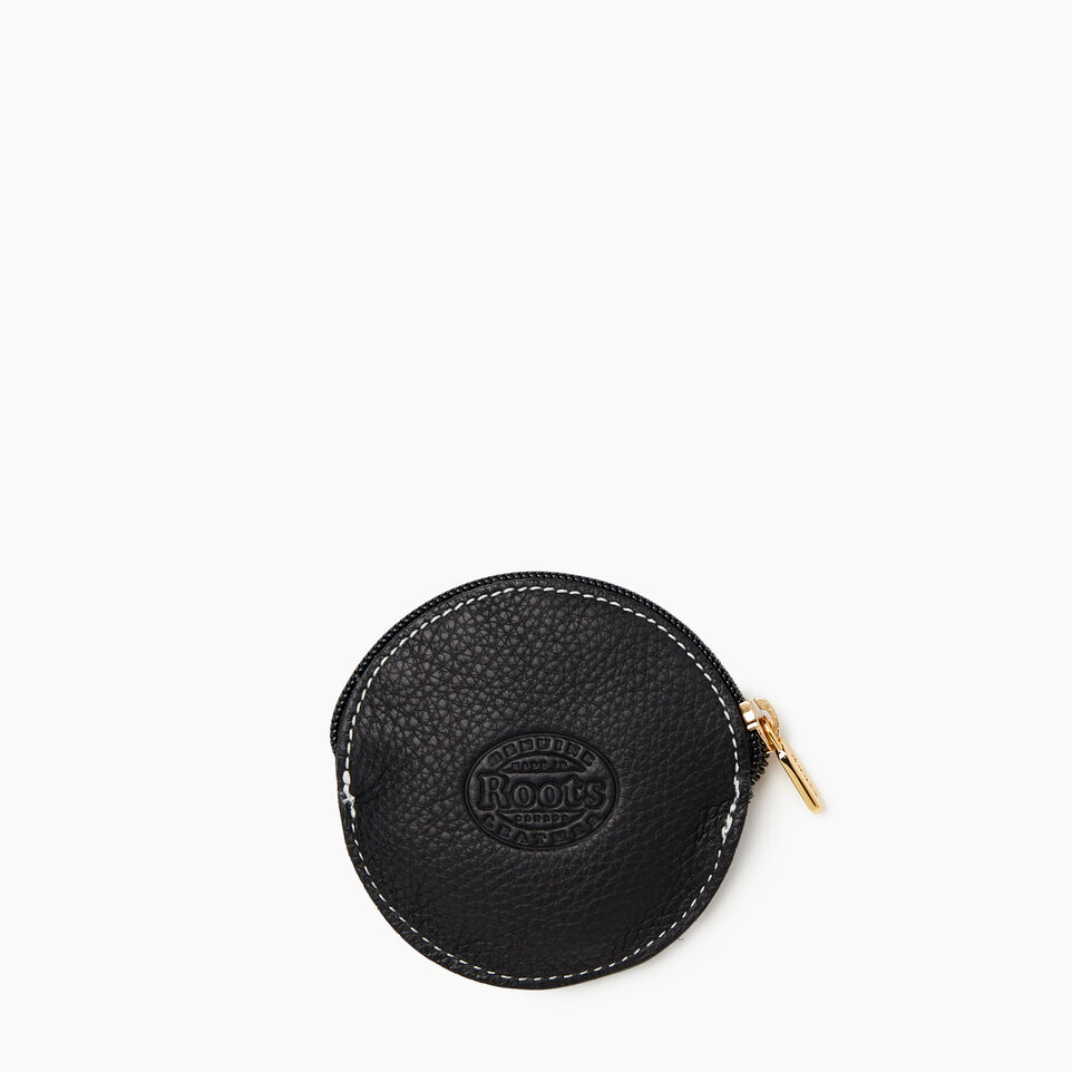 Roots-Women Leather Accessories-Zodiac Coin Pouch-Black-B