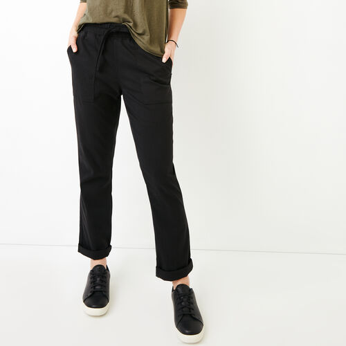 Roots-Women Pants-Essential Pant-Black-A