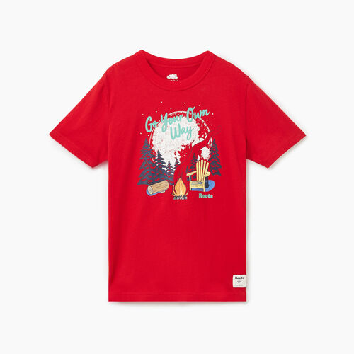 Roots-Kids Tops-Boys Roots Camp T-shirt-Sage Red-A