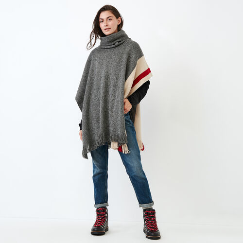 Roots-Women Categories-Roots Cabin Poncho-Grey Oat Mix-A