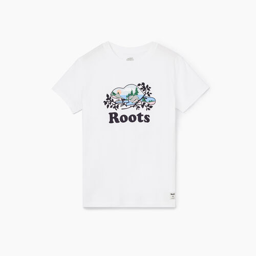 Roots-Women Graphic T-shirts-Womens Scenic Cooper Beaver T-shirt-Crisp White-A
