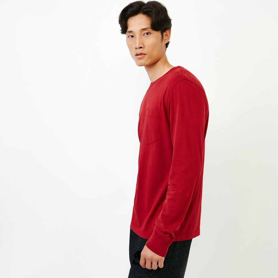 Roots-Men New Arrivals-Essential Pocket Longsleeve T-shirt-Sundried Tomato-C