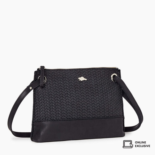 Roots-Leather Crossbody-Edie Bag Woven-Jet Black-A