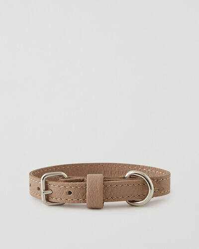 Roots-Leather Dog Accessories-Extra Small Leather Dog Collar Parisian-Latté-A