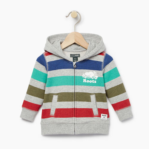Roots-Clearance Baby-Baby Ombre Stripe Full Zip Hoody-Grey Mix-A