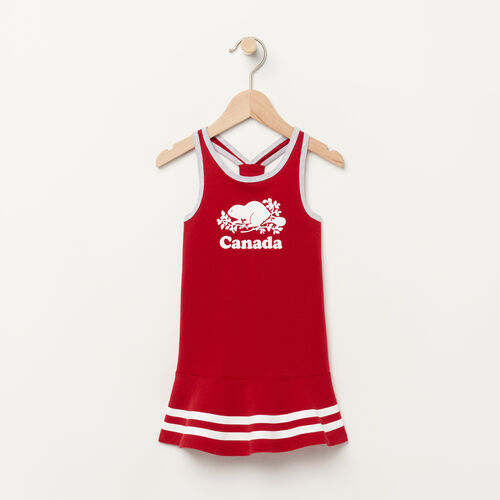 Roots-Kids Tops-Baby Canada Cooper Dress-Sage Red-A