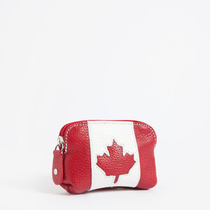 Roots-Leather Leather-Small Canadian Flag Pouch Prince-Red-A
