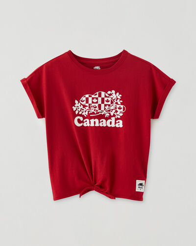 Roots-Kids Canada Collection-Girls Cooper Canada Flag Tie T-shirt-Sage Red-A