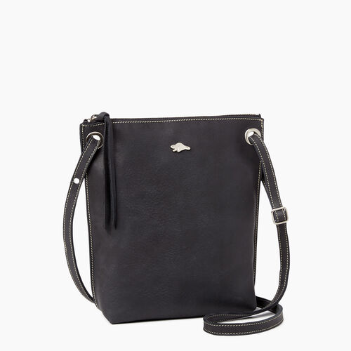 Roots-Leather Crossbody-Festival Bag Tribe-Jet Black-A