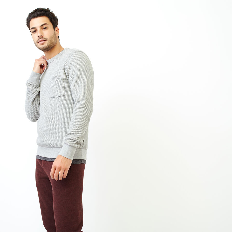 Roots-Men Our Favourite New Arrivals-Deep Cove Waffle Crew Top-Grey Mix-C