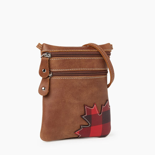 Roots-Women Crossbody-Park Plaid Canada Hanging Pouch-Natural-A