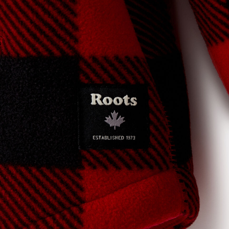 Roots-Kids New Arrivals-Girls Park Plaid Sherpa Zip Hoody-Cabin Red-E