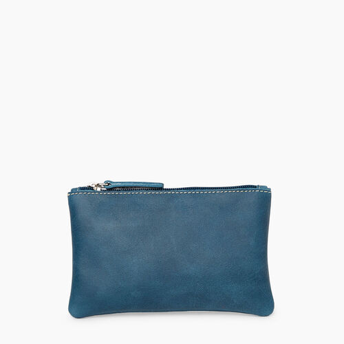 Roots-Leather Leather Accessories-Medium Zip Pouch-Teal Green-A