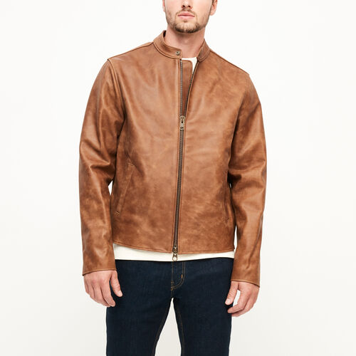 Roots-Men Leather Jackets-Keith Jacket Tribe-Natural-A