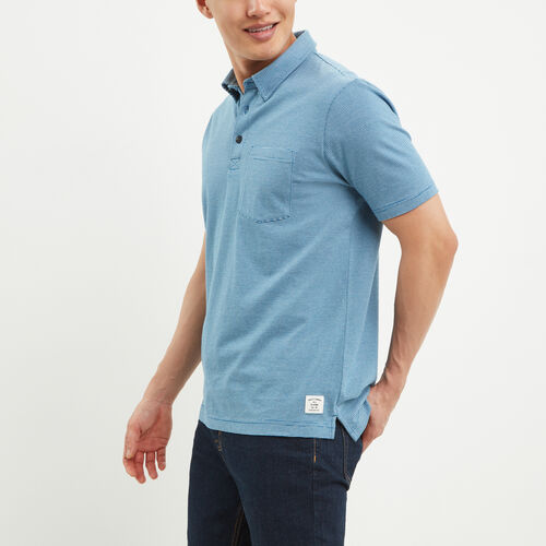 Roots-Men Tops-Striped Jersey Polo-Active Blue-A