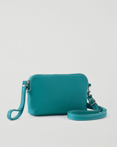 Roots-Leather Leather Bags-Christie Crossbody Cervino-Blue Lagoon-A