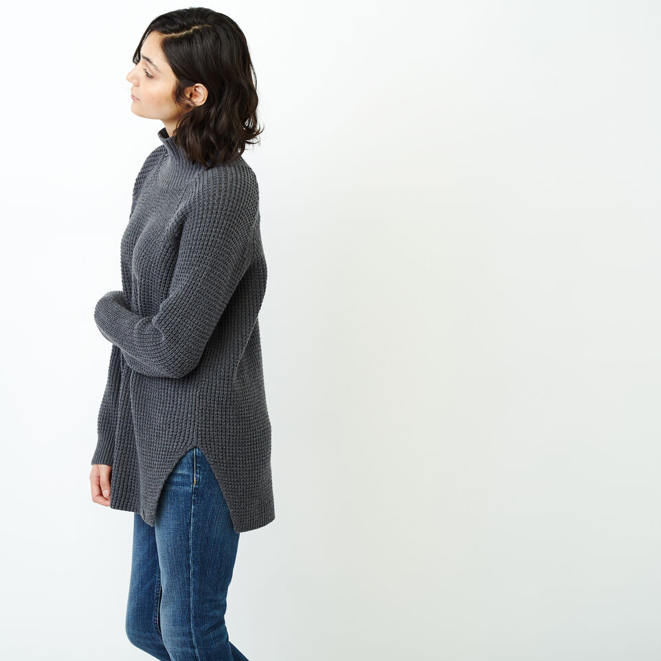 Roots-Women Categories-Fraser Waffle Sweater-Charcoal Mix-D