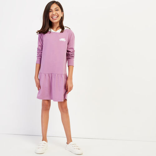 Roots-Kids New Arrivals-Girls Remix Hoody Dress-Valerian-A
