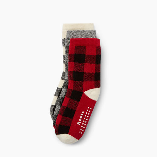 Roots-Kids Toddler Boys-Toddler Plaid Sock 3 Pack-Cabin Red-A