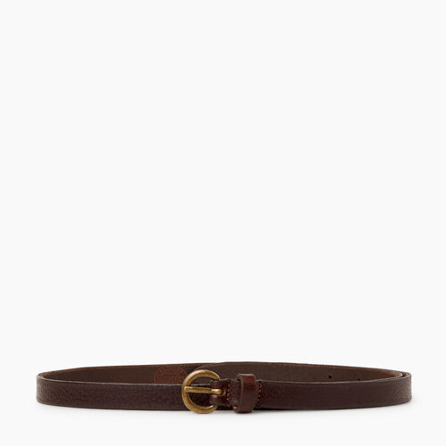 Roots-Women Leather Accessories-Roots Womens Skinny Belt-Brown-A