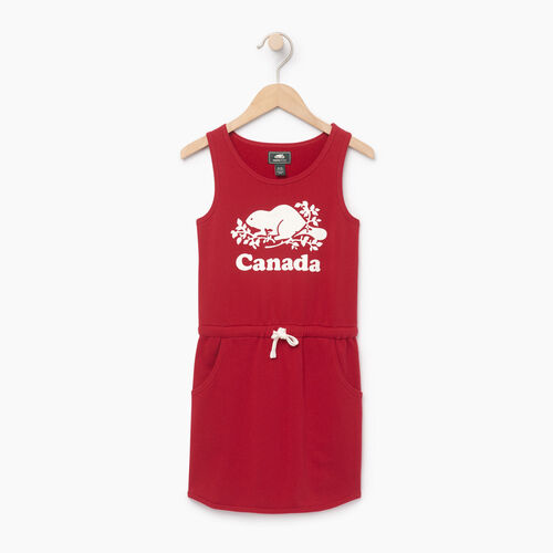 Roots-Sale Kids-Girls Canada Tank Dress-Sage Red-A