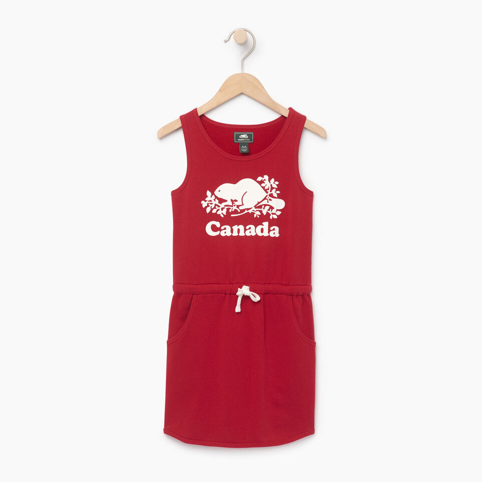 Roots-Clearance Kids-Girls Canada Tank Dress-Sage Red-A