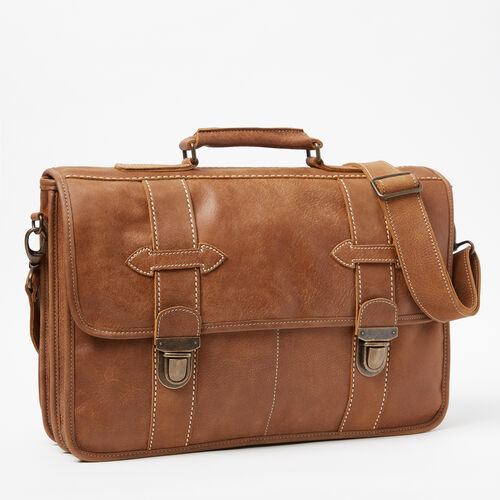 Roots-Leather Briefcases & Messengers-Grad School Tribe-Natural-A