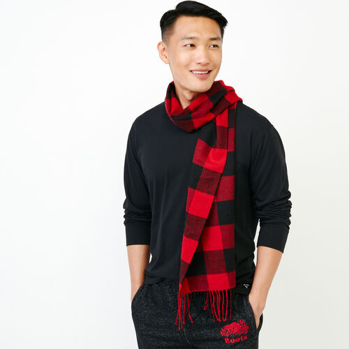Roots-Men Our Favourite New Arrivals-Roots Park Plaid Scarf-Cabin Red-A