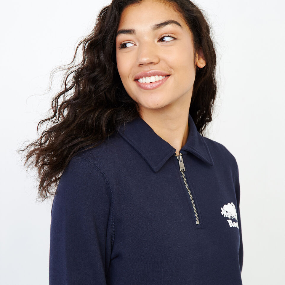 Roots-Women Our Favourite New Arrivals-Original Zip Polo-Navy Blazer-E