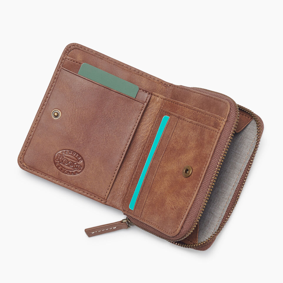 Roots-Leather Tribe Leather-Small Zip Wallet Tribe-Natural-C