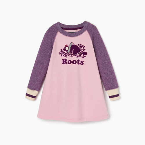 Roots-Clearance Kids-Toddler Buddy Cozy Fleece Dress-Grape Royale Pepper-A