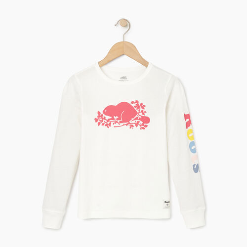 Roots-Clearance Kids-Girls Roots Remix T-shirt-Ivory-A