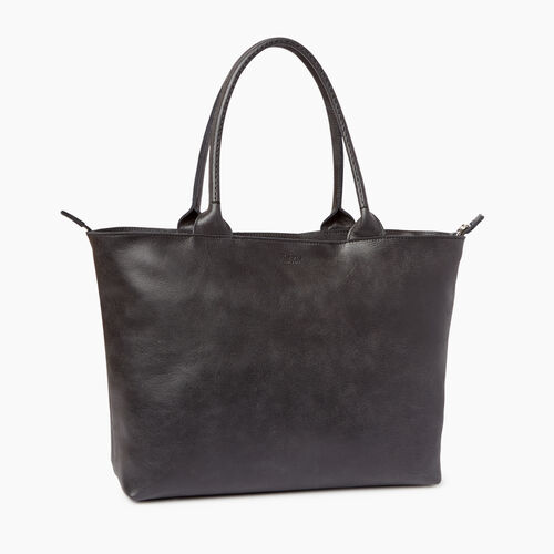 Roots-Leather  Handcrafted By Us Collections-Mont Royal Tote-Jet Black-A