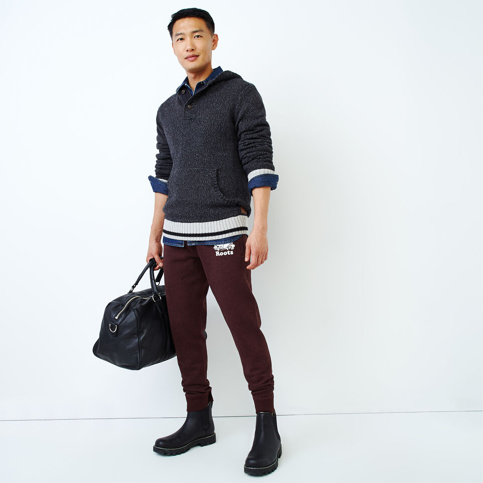 Roots-Men Our Favourite New Arrivals-Cotton Cabin Anorak Sweater-Black Speckle-B