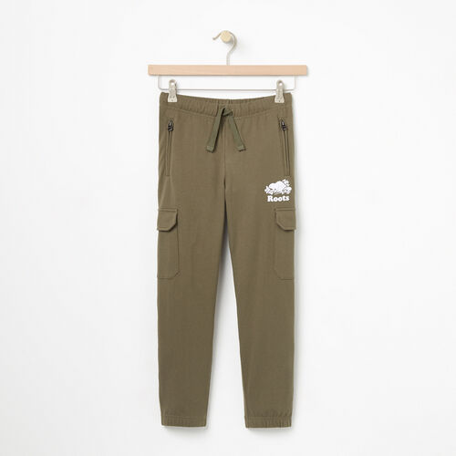 Roots-Kids Bottoms-Boys Heavyweight Jersey Utility Pant-Dusty Olive-A