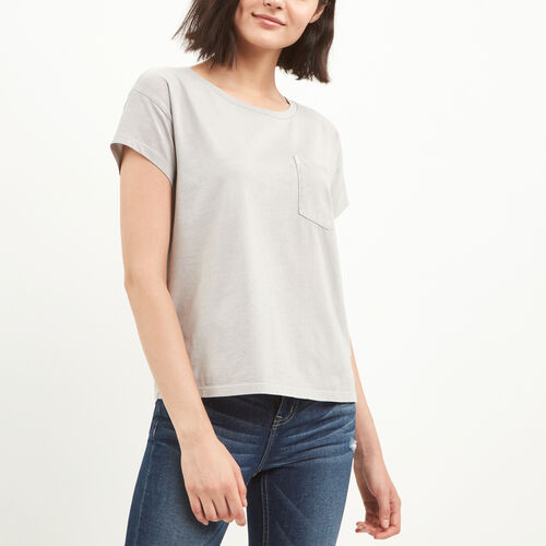 Roots-Women Tops-Boyfriend Pocket T-shirt-Light Grey-A