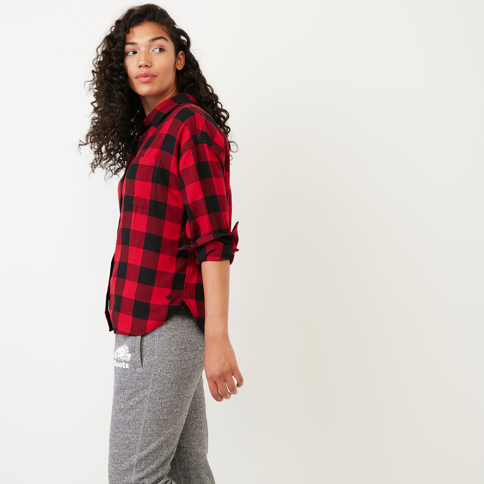 Roots-Women Categories-Box Cut Flannel Shirt-Lodge Red-C