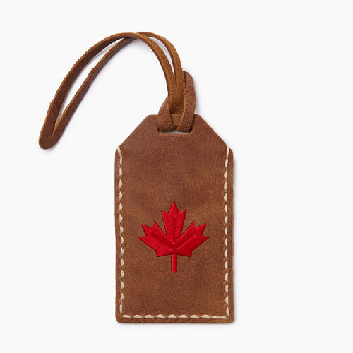 Roots-Women Leather Accessories-Maple Leaf Luggage Tag-Natural-A