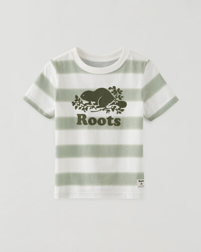 Roots-Kids Tops-Toddler Cooper Beaver T-shirt-Washed Olive-A