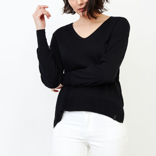 Roots-Women Sweaters & Cardigans-Fauna V Neck Sweater-Black-A