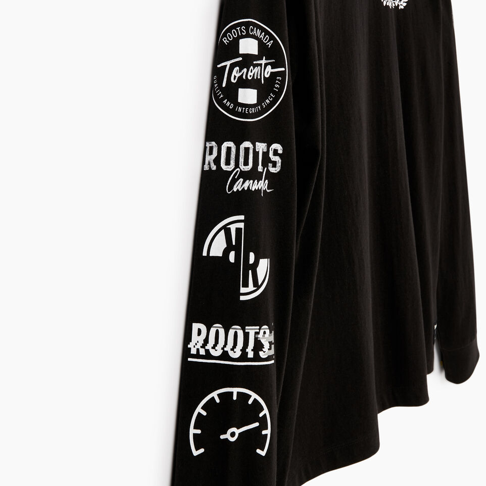 Roots-Men New Arrivals-Mens Symbols Classic Long Sleeve T-shirt-Black-E