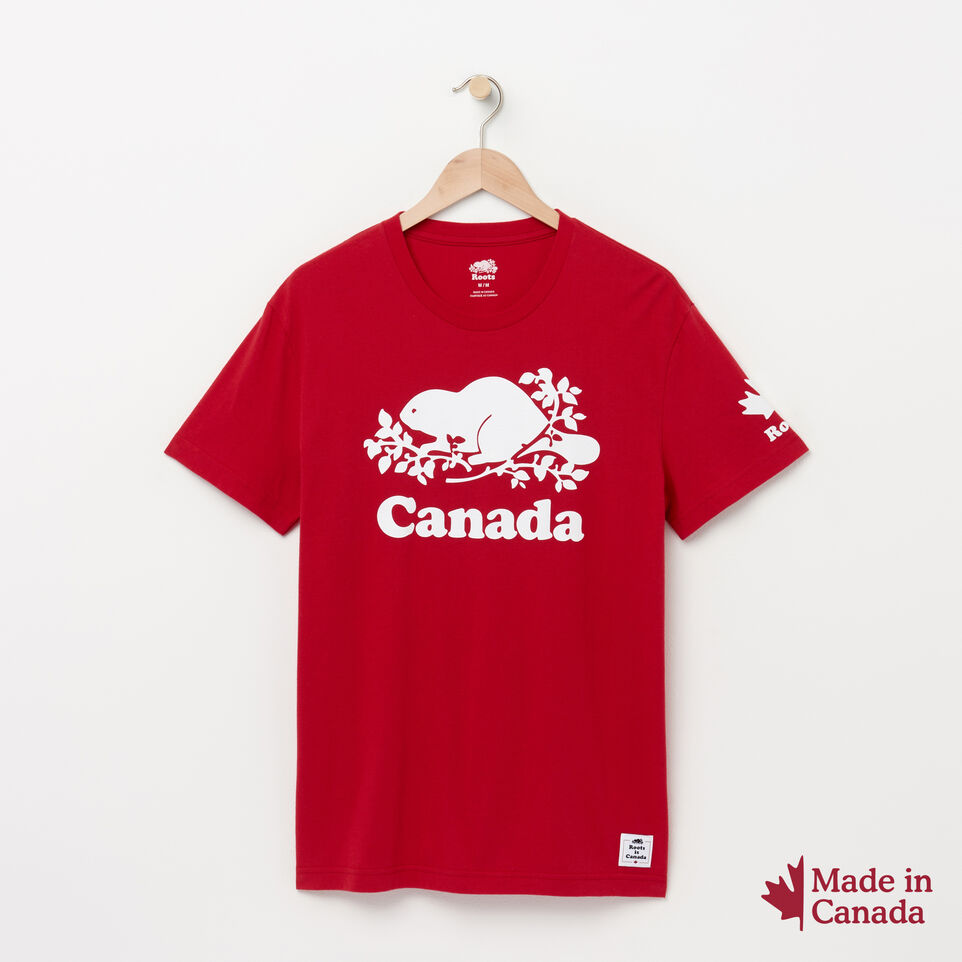 Roots-Men Canada Collection By Roots™-Mens Cooper Canada T-shirt-Sage Red-A