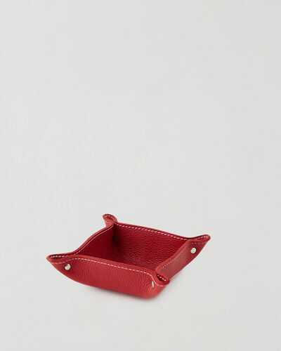 Roots-Leather New Arrivals-Small Leather Tray Cervino-Lipstick Red-A