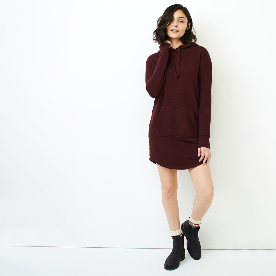 Roots-Women Categories-Cozy Fleece Kanga Dress-Crimson Pepper-B