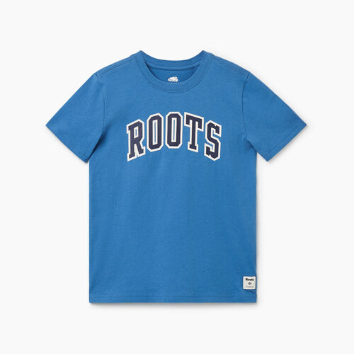 Roots-Kids Tops-Boys Arch Roots T-shirt-Federal Blue-A