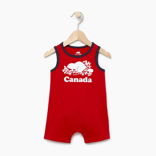 Roots-Clearance Baby-Baby Canada Tank Romper-Sage Red-A