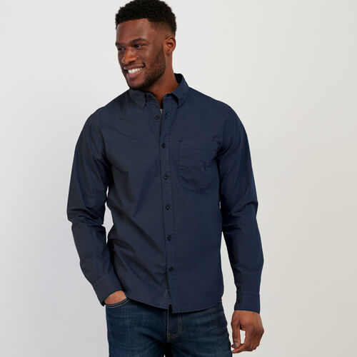 Roots-Men New Arrivals-Hemlock Poplin Shirt-Cascade Blue-A