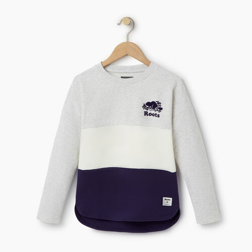 Roots-Clearance Kids-Girls Colour Block Sweatshirt-White Mix-A