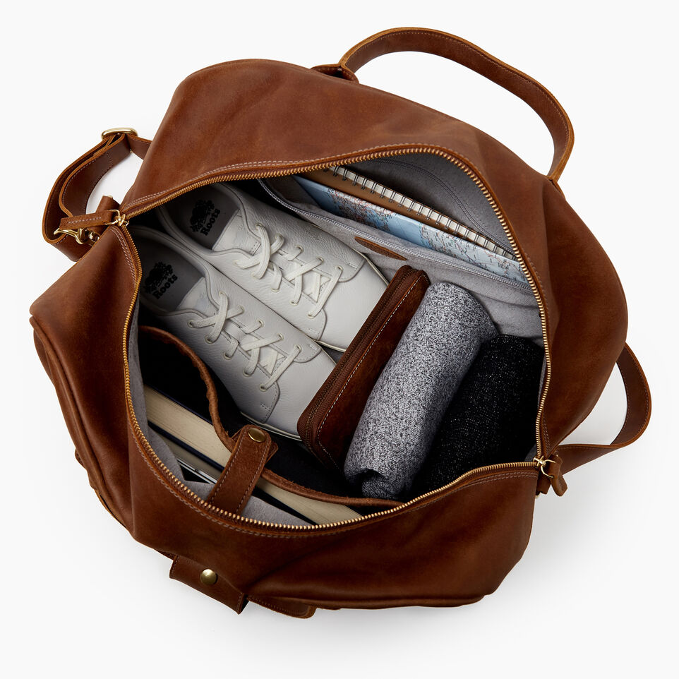 Roots-Leather Our Favourite New Arrivals-Jasper Gym Bag-Natural-D